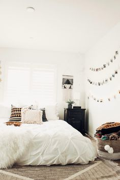 Bedroom Goals ☽ ✩ Beautiful room by Lady Scorpio   Save 25% off all orders with code PINTERESTXO at checkout   Shop Now LadyScorpio101.com @ladyscorpio101    Bohemian white Pillows Bedroom Moon Phase Wall Hanging Decor Tapestry Design Polaroids all seeing eye Boho Bungalow UOhome urban outfitters apartment dorm by Alexa Halladay