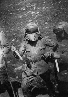 Arditi wearing the Adrian helmet with Dunand visor.Arditi were schock units of Italian army during WWI