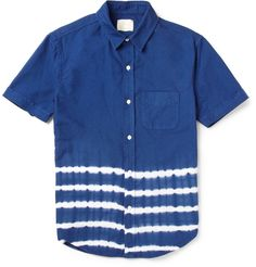 Band of OutsidersTie-Dye Striped Cotton Shirt MR PORTER