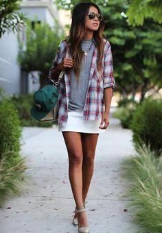 white denim skirt + plaid button-down