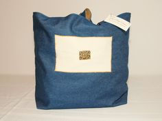 Large Denim  & Canvas Tote with Vintage Buckle Purse Bag #H1514 by DruandMegzDesign on Etsy