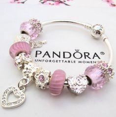 Authentic Pandora BANGLE Bracelet Silver White Love Murano Charm Bead