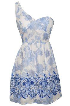 Lily Boutique Porcelain Doll Blue and White One Shoulder Dress, $40  www.lilyboutique.com