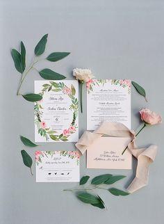 Floral wedding invitation suite: Floral Design: Floral Cottage Weddings - http://www.stylemepretty.com/portfolio/floral-cottage-weddings Photography: Elena Wolfe Photography - elenawolfe.com Photography - Assistance: Jennifer - magnoliagracestudios.com   Read More on SMP: http://www.stylemepretty.com/2017/01/23/this-hudson-valley-wedding-had-us-at-engagement-ring/