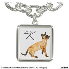 Siamese kitten customizable charm bracelet