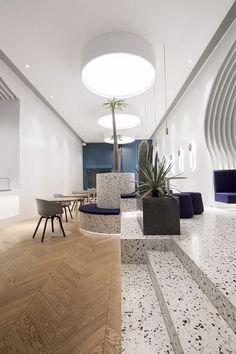 Interior Design For Bedrooms Cafe Interior Design, Cafe Design, Interior Walls, Interior Design Living Room, House Design, Restaurant Design, Architecture Restaurant, Restaurant Interiors, Terrazzo Flooring