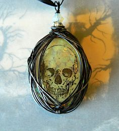 Human Skull Wire Wrapped Pendant Necklace by PixeyMeat on Etsy, $23.00