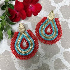 Add a pop of color to your wardrobe Tiny Stud Earrings, Seed Bead Earrings, Beaded Earrings, Crochet Earrings, Red Earrings, Statement Earrings, Handmade Jewelry Tutorials, Handmade Jewelry Findings, Beaded Jewelry Patterns