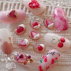 Bling Nails, 3d Nails, Cute Nails, Pretty Nails, Red Nail Designs, Beautiful Nail Designs, Japan Nail Art, Hello Kitty Nails, Korean Nails