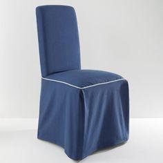 Housse de chaise, BRIDGY La Redoute Interieurs : prix, avis & notation, livraison.  Housse de chaise : VALEUR SURE pour sa confection en bachette pur coton, 220 g/m².Caractéristiques housse de chaise :VALEUR SURE pour sa confection en bachette pur coton.- 2 plis creux devant et dos.- Nœud de serrage au dos.- Finition piping contrastant. - Bachette pur coton 220 g/m².- Lavable à 40°. Dimensions housse de chaise :- Haut. totale 98 cm.- Dossier : H55, L37, ép. 5 cm. - Assise 37 à 45 cm.- Jupe…