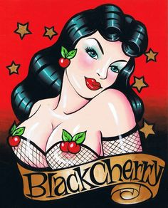 Black Cherry pin-up art illustration #Cherries | Follow our PIN UP board here --> http://www.pinterest.com/thevioletvixen/pin-up-prints/