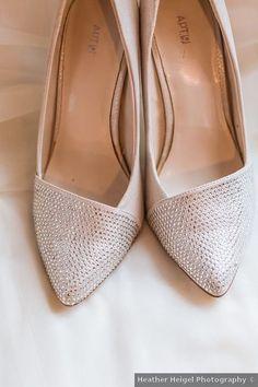 Silver wedding shoes - bride, bridal, heels, closed toe, pointed, rhinestones Allison & John Elegant Winter Wedding in Detroit, MI
