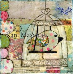 Birdy Birdcage PRINT Home Sweet Home Original included lots of my favourite collage elements including: paint, patterned paper, old book paper, napkins, painting decoration and fabric.