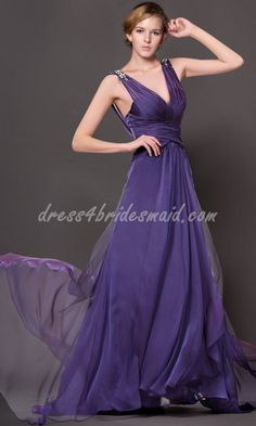 My bridesmaids' dress  Empire Waist Low V-neck Purple Chiffon Bridesmaid Dress NDNB045 [NDNB045] - $122.70