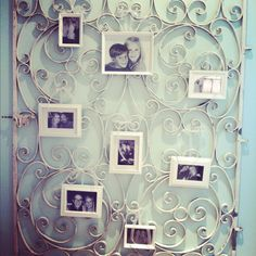 My B photo wall made from an old, rustic fence.    pretty little things: Redecorating (On a Budget)
