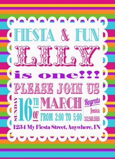Fiesta  A Personalized Invitation by InvitingPrintables on Etsy, $15.00