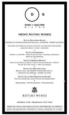 Menú Rutini Wines - Semana del 19 al 23 de enero, 2016