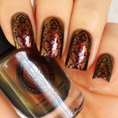 Stamping Nail art using MoYou-London - Gothic 11 Nail Art Stamping Plates, Nail Stamping, Cute Nails, Pretty Nails, Shellac, Fingernails Painted, Gothic Nails, Acryl Nails, Seasonal Nails