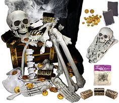 136 PCs Halloween Decorations including 28 PCs Halloween Bones 100 Pirate Coins and spider webs