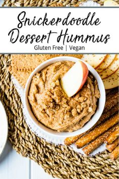 Snickerdoodle Dessert Hummus - cinnamon and sweetness for a deliciously sweet and healthy snack. Perfect for dipping cut up apples or a few pretzels for a quick healthy snack. Even better. it is also vegan and gluten-free! Dessert Hummus Recipe, Healthy Dessert Recipes, Whole Food Recipes, Snack Recipes, Paleo Sweets, Quick Healthy Snacks, Healthy Recipes, Cheesecake Desserts, Köstliche Desserts