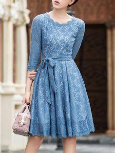 Shop Midi Dresses - Blue Pierced 3/4 Sleeve Crew Neck Lace Midi Dress online. Discover unique designers fashion at StyleWe.com.
