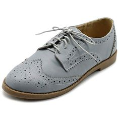 ddb6eac44 Ollio Women's Flats Shoes Wingtip Lace Up Oxfords M2921 (10 B(M) US