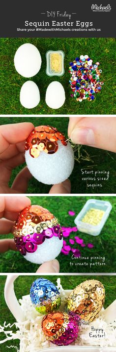 Create easy, sparkly Easter Eggs using sequins. This DIYFriday shows you how!