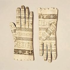 "Fortuny kid leather gloves, ca.1800-1810. Make - shoulder length - with Moroccan wedding  henna ""tattoos"" - whatever they are called - I forget"