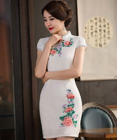 Traditional White Linen Floral Embroidery Cheongsam Mini Chinese Dress - iDreamMart.com
