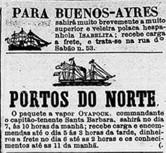 anúncios de vapores, 1860