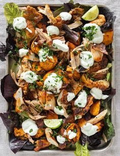This chicken and sweet potato tray bake is enlivened with harissa paste and a zingy lime yogurt dollop. An easy, healthy dinner recipe everyone will love. Chicken Tray Bake Recipes, Low Carb Chicken Recipes, Sweet Potato Recipes, Lasagna Recipes, Harissa Chicken, Vegetarian Pasta Recipes, Yogurt Recipes, Tray Bakes, Kitchens