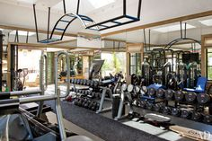 Tom Brady's Home Gym - love the bars from the ceiling