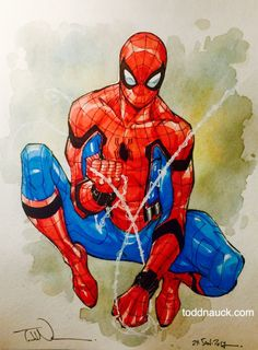 Pigma Micron pen 08 & Grumbacher tube watercolor paints on Canson cold press watercolor art board. Avengers Art, Marvel Art, Marvel Heroes, Marvel Comics, Spiderman Kunst, Spiderman Tattoo, Spiderman Sketches, Spiderman Costume, Comic Books Art
