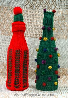 ABC Knitting Patterns - Christmas Wine Bottle Sweaters and Hats