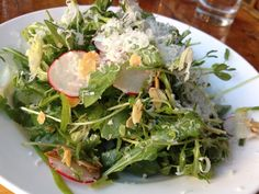 Cooper's Craft & Kitchen, East Village, NYC....spring pea salad with pea shoots, fresh arugula, sliced toasted almonds, sliced radishes, shredded Perconino Romano in a very light lemon vinaigrette ($9) is not to be missed.