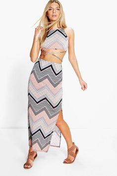 81fc942bb80 Deea Paisley Crop Top Maxi Skirt Co-Ord Set Maxi Skirt Crop Top