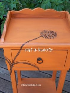 "I love what this pinner did!!!  I would want to do a ""wish""  aka a dandelion gone to seed :)  orig pinner: my allium hand painted table"