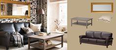 Sofá de piel de 3 plazas YSTAD Grann marrón oscuro, mesa de centro HEMNES marrón grisáceo y espejo LEVANGER dorado
