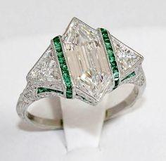 Vintage Jewelry Art Art Deco Rare Modified Hexagonal Platinum Diamond Ring w Emerald Accents by shauna Emerald Jewelry, Gems Jewelry, Sea Glass Jewelry, Turquoise Jewelry, Diamond Jewelry, Fine Jewelry, Gemstone Jewelry, Jewlery, Silver Jewellery