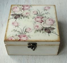 Hand decorated wooden tea box. Design with roses. Exterior are meticulously decorated in decoupage, using Eco-friendly materials, and protected with multiple layers of acrylic lacquer. It has four sections for tea bags inside. Measures: 16 cm x 16 cm (approx 6.3 in x 6.3 in) Measurements for single section for tea bags: 7 x 7 cm, height 7 cm (2.75 in) A beautiful tea box perfect for a gift to anyone or yourself. Item is made on clients request so it may be different a little than the one…