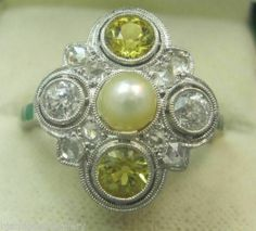 Top Quality Solid Platinum Yellow Sapphires and Diamonds Art Deco Ring
