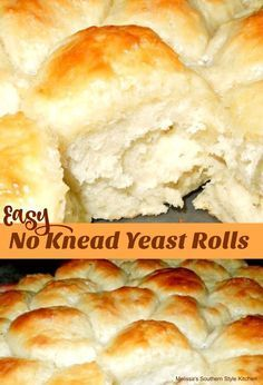 These Easy No Knead Yeast Rolls made a no knead believer out of me. Easy to make and even easier to eat warm slathered with butter. Easy Yeast Rolls, Homemade Yeast Rolls, Easy Rolls, Homemade Breads, Yeast Biscuits, Drop Biscuits, Dinner Rolls Recipe, Roll Recipe, Quick Dinner Rolls