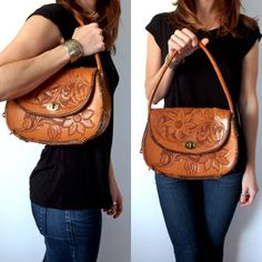 Vintage Leather Tool Bag Floral Tooled Purse 70's by TheVelvetMoon, $18.00
