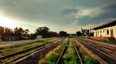 Railway station in Zeliezovce, South Slovakia