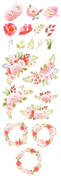 Pink roses watercolor wreaths and crowns, Bohemian rose bouquets clip art watercolor