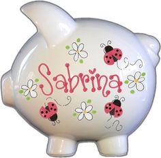 Ladybug Red and Daisies Design Piggy Bank - Piggy Banks - Ideas of Piggy Banks Personalized Piggy Bank, Personalized Gifts, Pottery Painting, Ceramic Painting, Lady Bug, Large Piggy Bank, Paint Your Own Pottery, Hand Painted Ceramics, Gifts For Kids