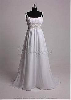 Elegant Chiffon Beaded Scoop Neckline with Empire Slim Column Sheath Skirt Wedding Dress #Dressilyme