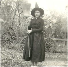 A wonderfully attired vintage Halloween (presumably) witch. #vintage #kids #costumes #Halloween