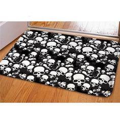 White/ Black Skull Printed Door Mat - Skullflow    https://www.skullflow.com/collections/skull-carpets/products/white-black-skull-printed-rug