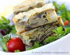 Backed mushrooms pudding. Romanian recipe.